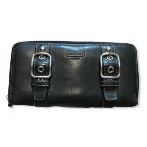 COACH Black Long Wallet Leather